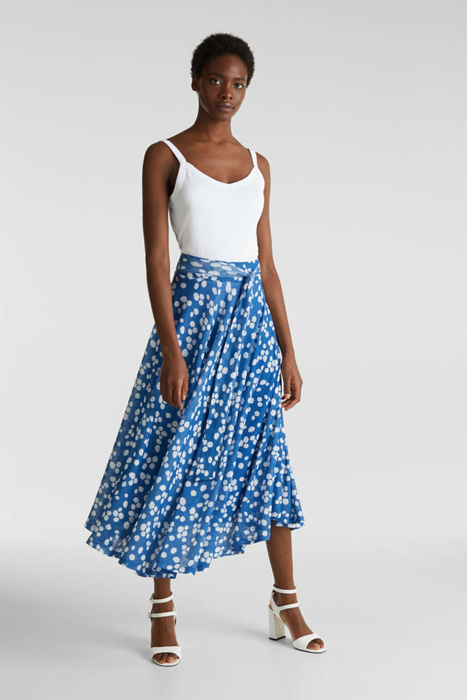 Midi jersey skirt with an all-over print, BRIGHT BLUE, detail image number 1
