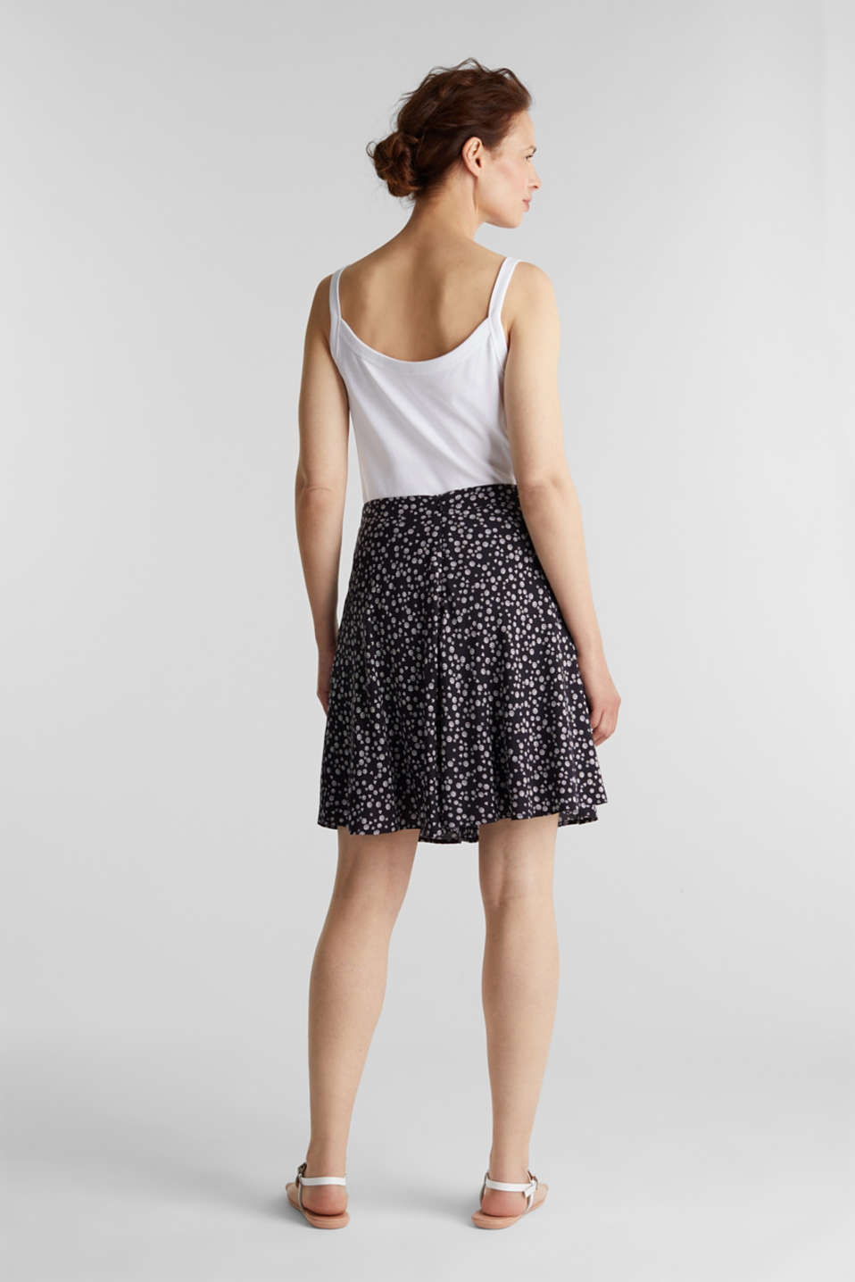 Printed skirt made of LENZING™ ECOVERO™, NAVY 4, detail image number 2