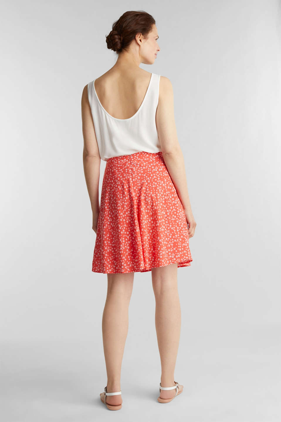 Printed skirt made of LENZING™ ECOVERO™, CORAL 4, detail image number 3
