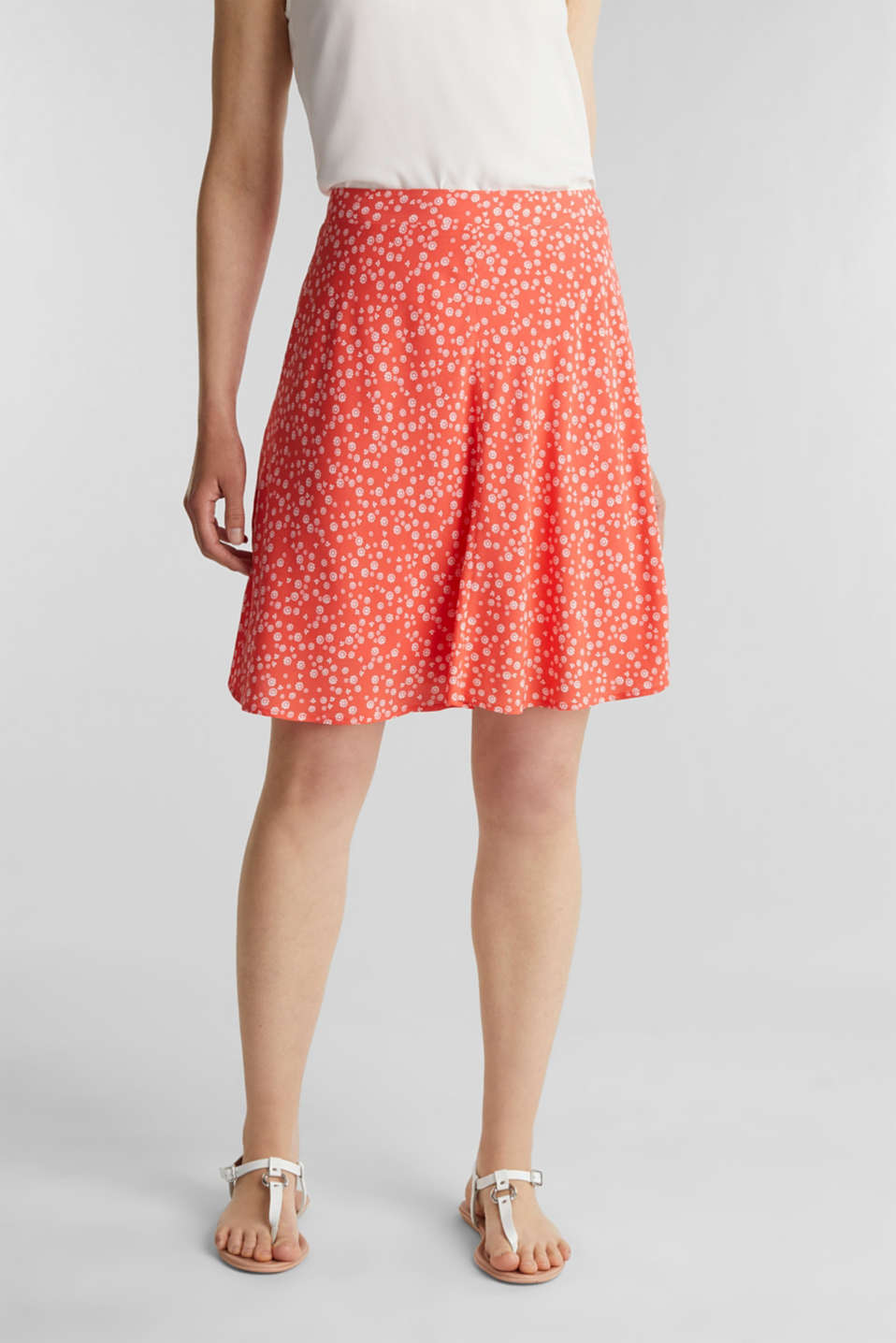 Printed skirt made of LENZING™ ECOVERO™, CORAL 4, detail image number 5