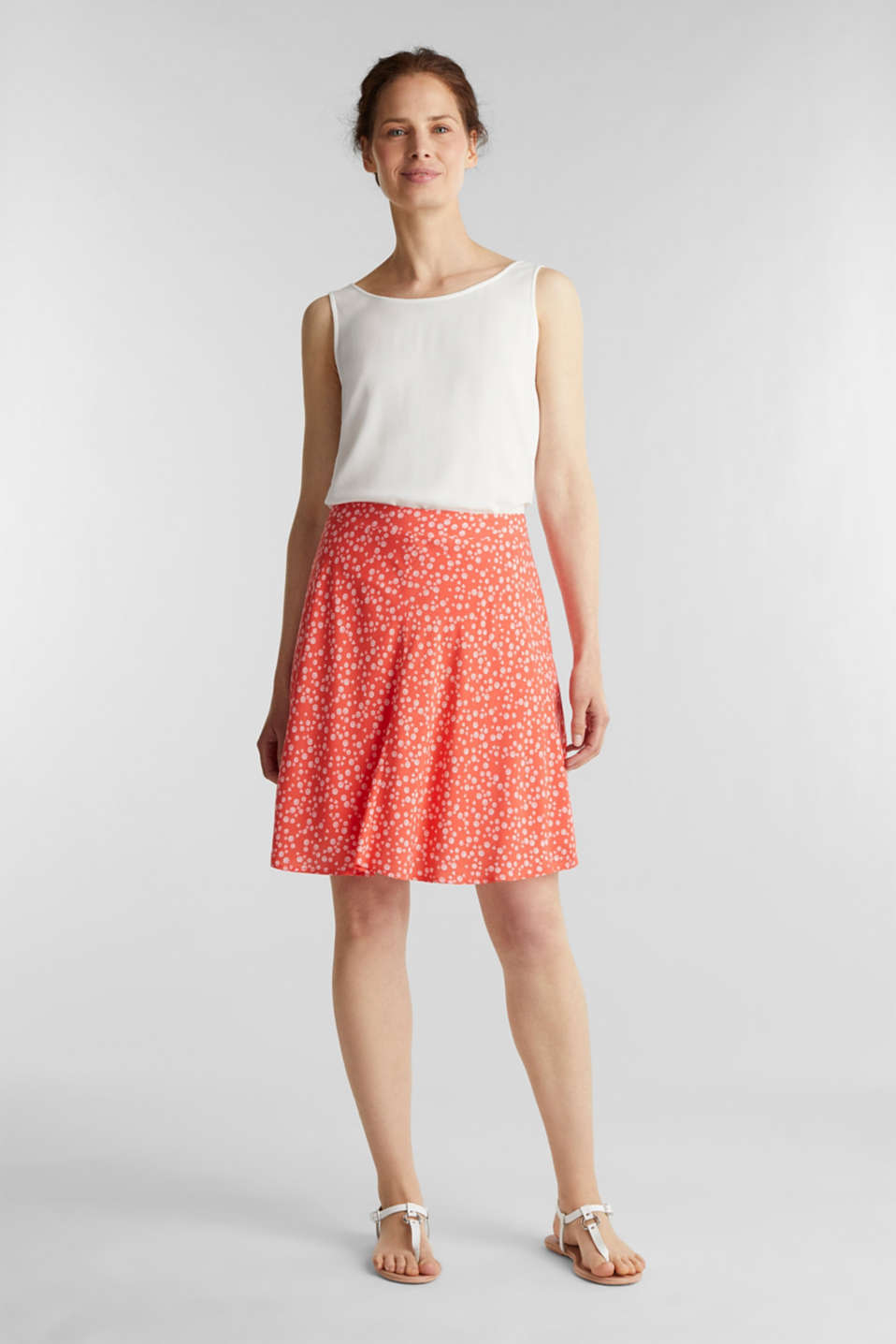 Printed skirt made of LENZING™ ECOVERO™, CORAL 4, detail image number 1