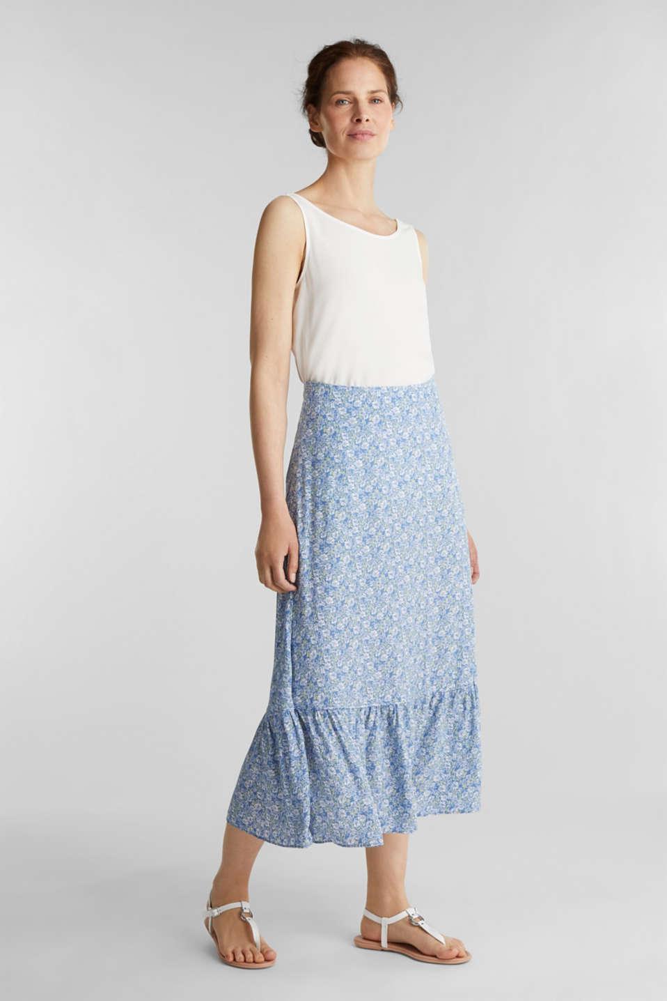 Midi skirt made of LENZING™ ECOVERO™, BRIGHT BLUE 4, detail image number 1