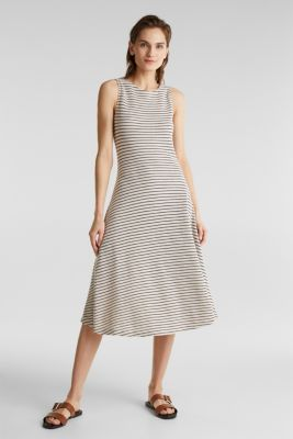 Jersey dress with textured stripes, SAND, detail