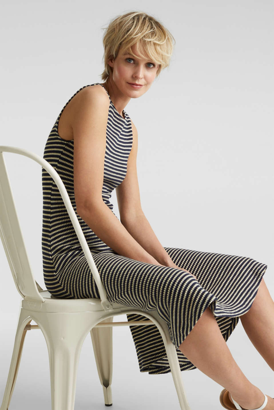 Jersey dress with textured stripes, NAVY, detail image number 0