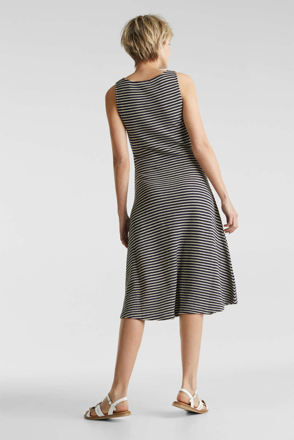 Jersey dress with textured stripes, NAVY, detail image number 2