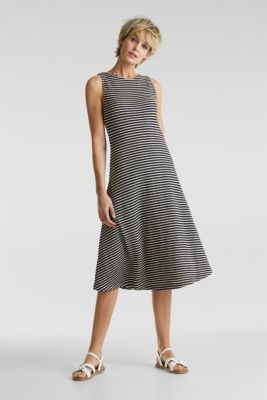 Jersey dress with textured stripes, NAVY, detail