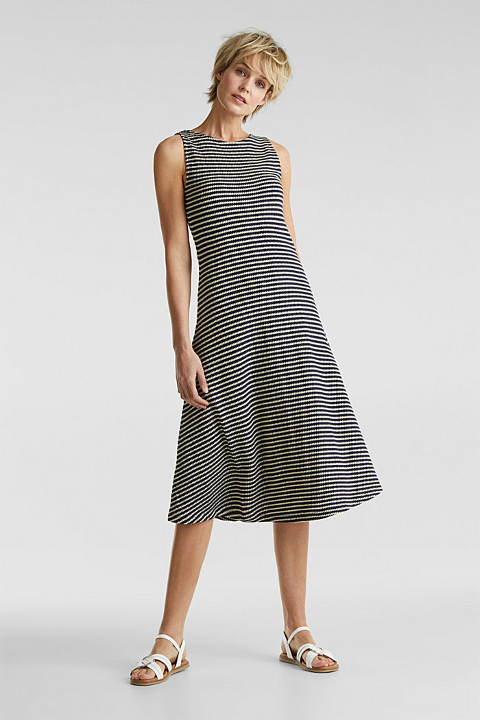 Jersey dress with textured stripes, NAVY, detail image number 1