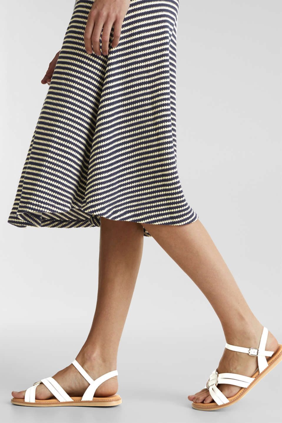 Jersey dress with textured stripes, NAVY, detail image number 4