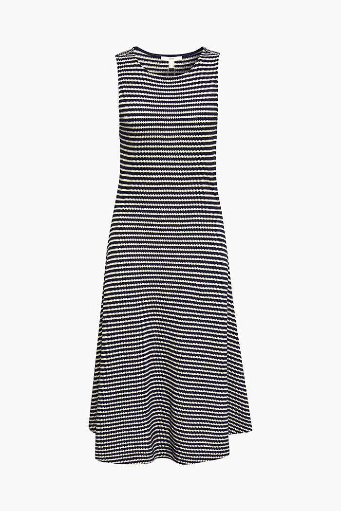 Jersey dress with textured stripes