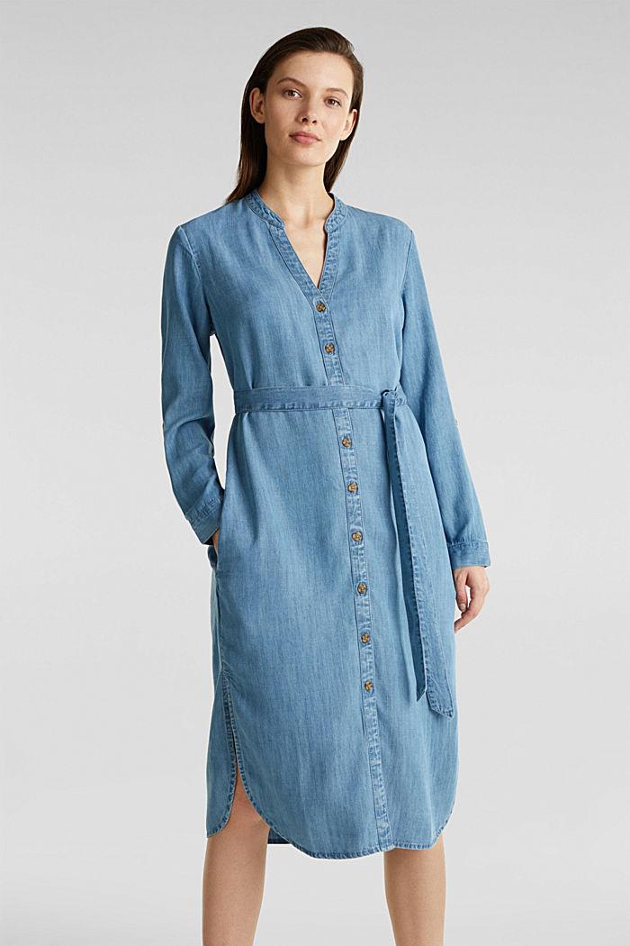 Aus TENCEL™: Kleid im Denim-Look, BLUE LIGHT WASHED, detail image number 0