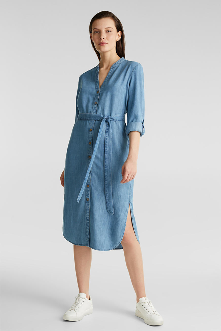 Aus TENCEL™: Kleid im Denim-Look