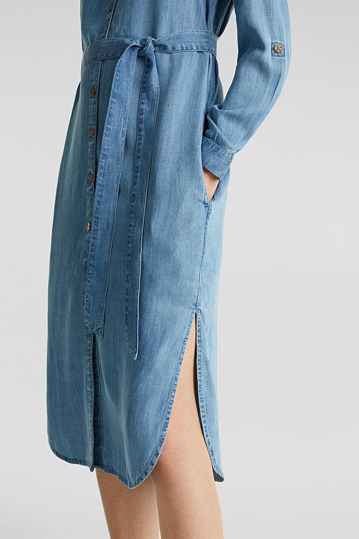 Aus TENCEL™: Kleid im Denim-Look, BLUE LIGHT WASHED, detail image number 4