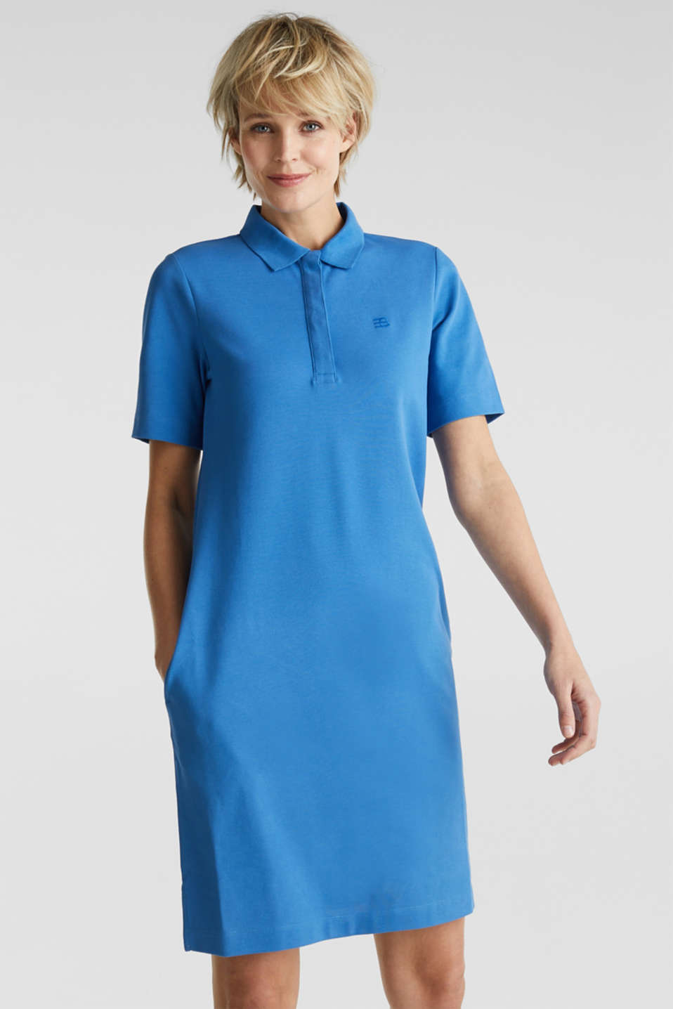 Polo dress made of stretch piqué, BRIGHT BLUE 2, detail image number 0