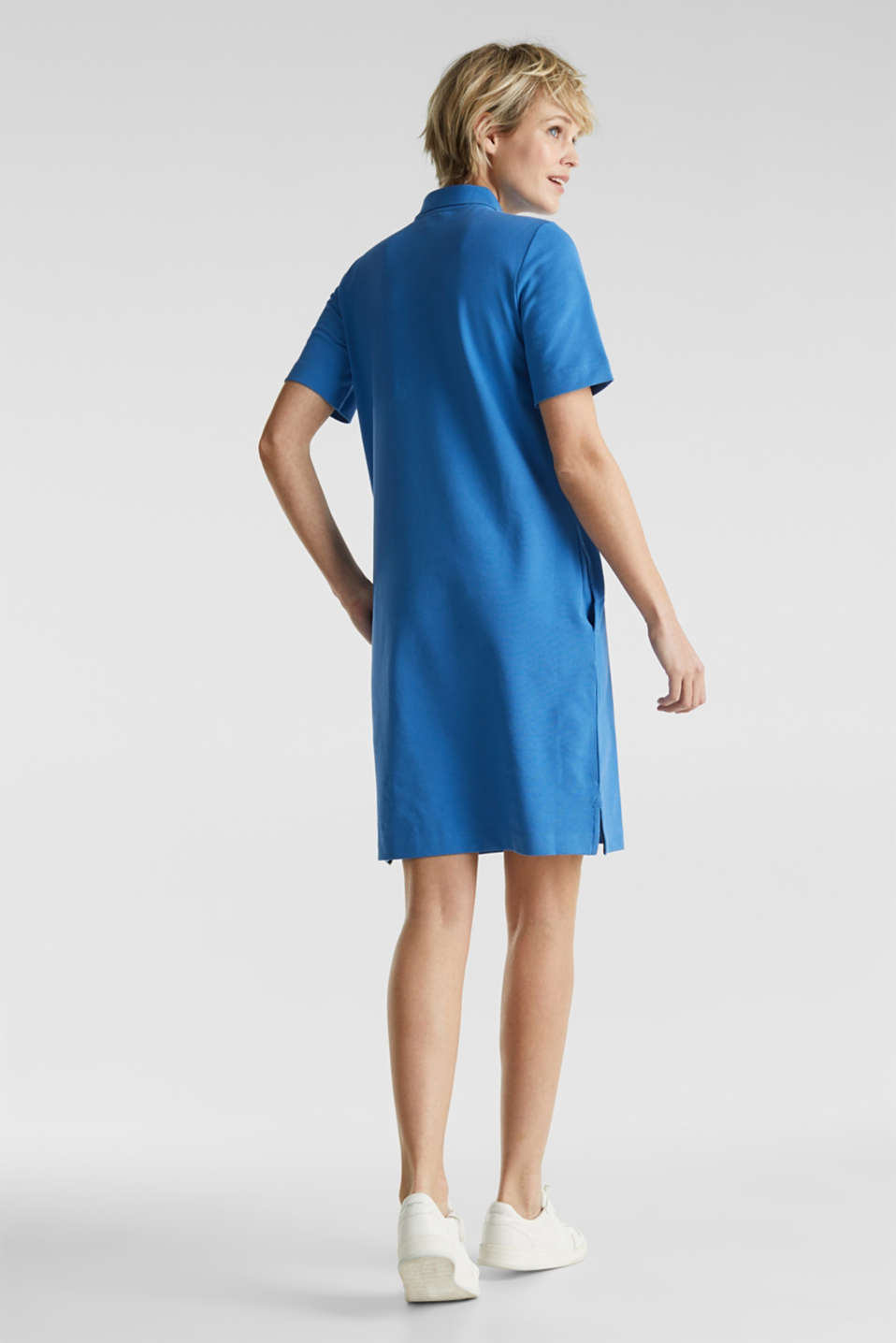 Polo dress made of stretch piqué, BRIGHT BLUE 2, detail image number 2