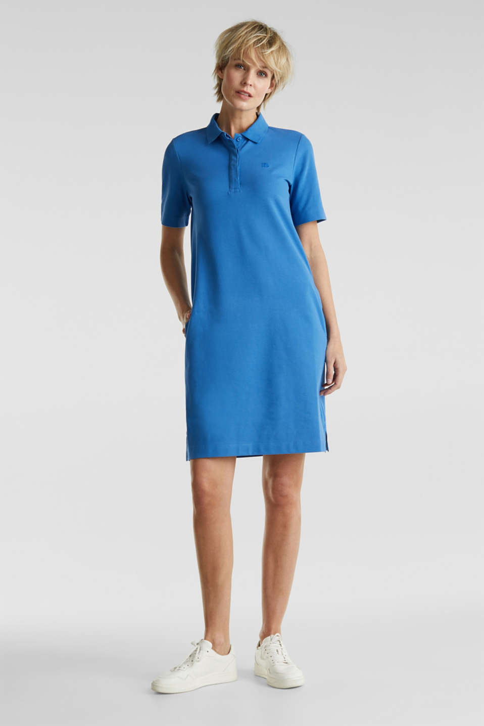 Polo dress made of stretch piqué, BRIGHT BLUE 2, detail image number 1