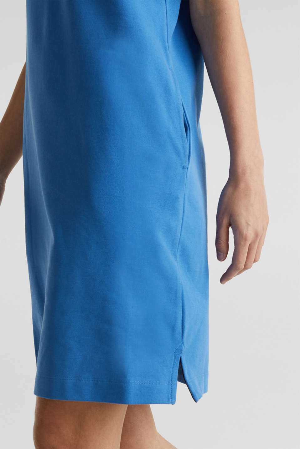 Polo dress made of stretch piqué, BRIGHT BLUE 2, detail image number 5