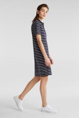 Polo dress made of stretch piqué, NAVY, detail