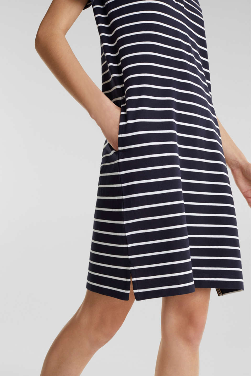 Polo dress made of stretch piqué, NAVY, detail image number 5