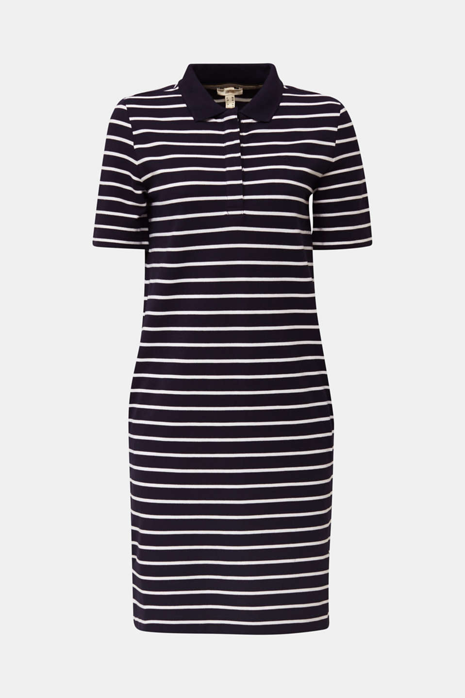 Polo dress made of stretch piqué, NAVY, detail image number 6