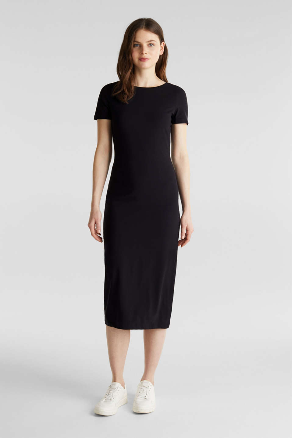 Jersey dress with organic cotton, BLACK, detail image number 0