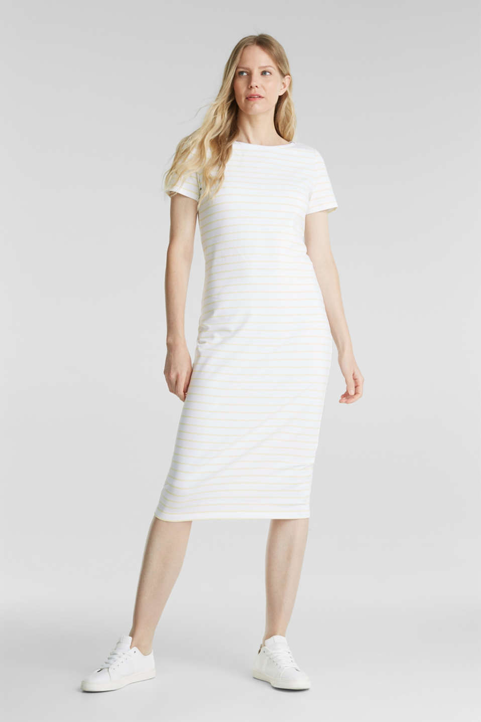 Esprit - Fitted jersey dress with organic cotton