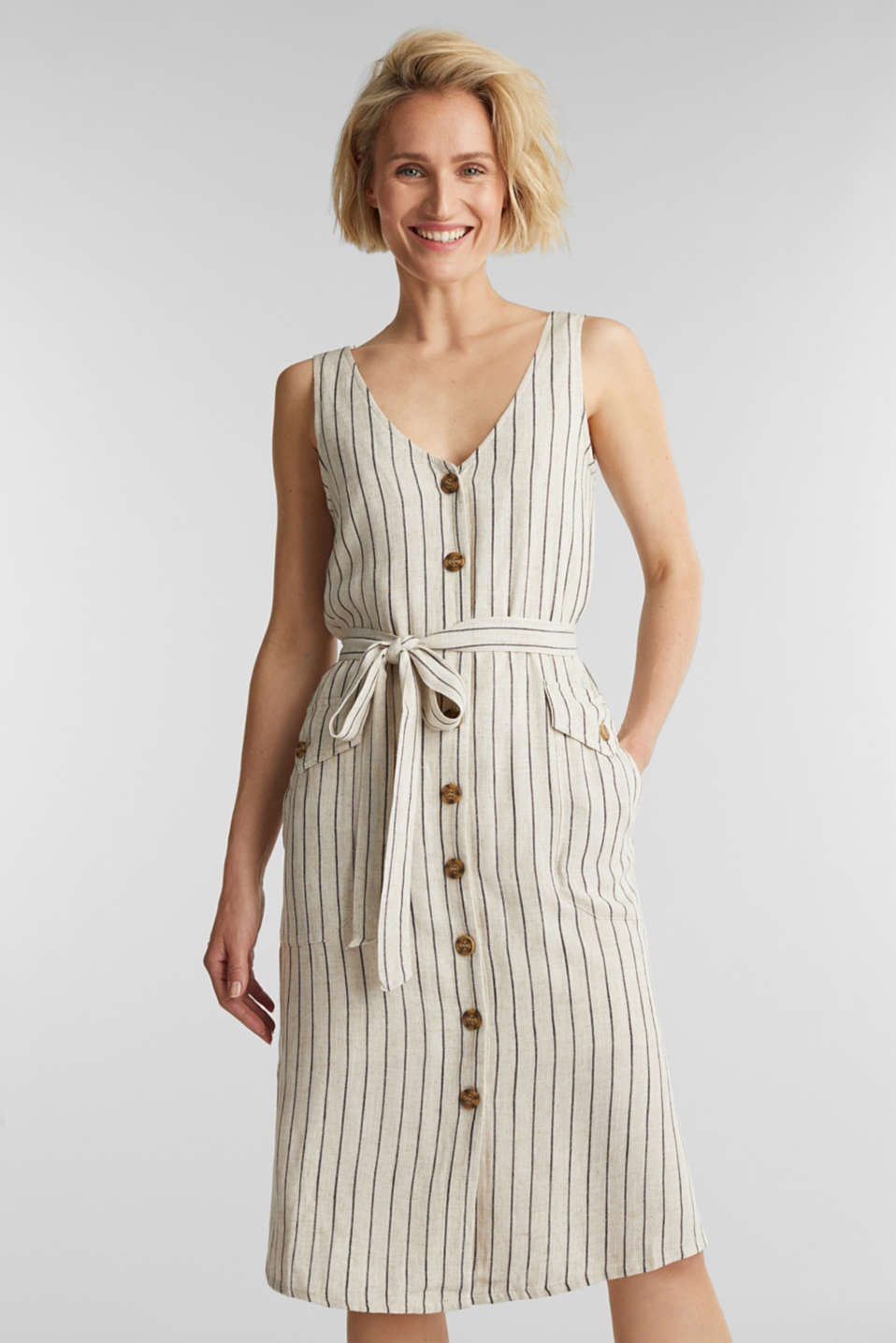 Esprit - Linen blend: sheath dress with a belt
