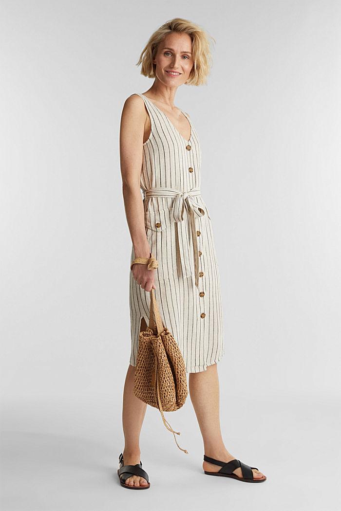 À teneur en lin: la robe fourreau à ceinture, SAND, detail image number 1