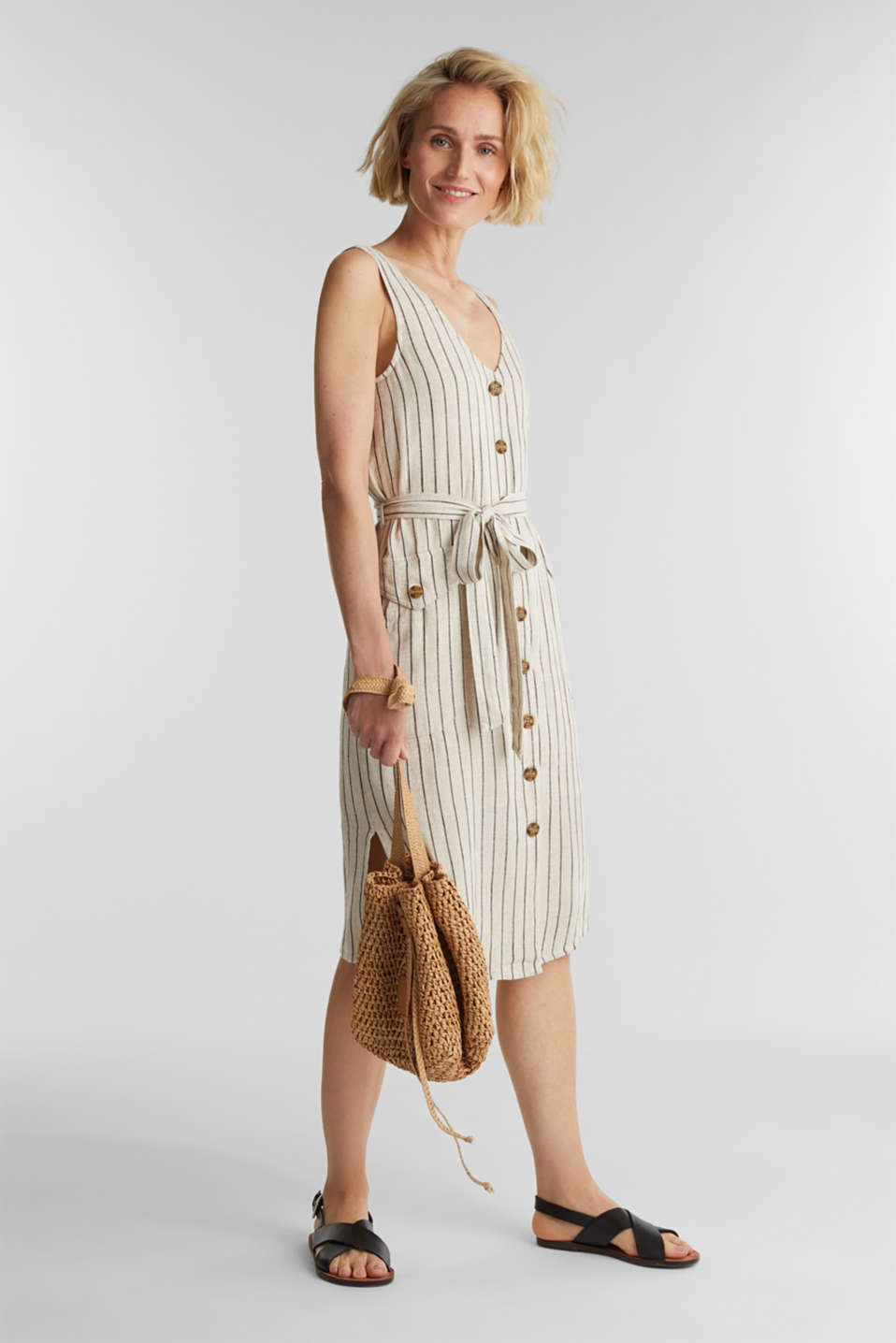 Linen blend: sheath dress with a belt, SAND 4, detail image number 1