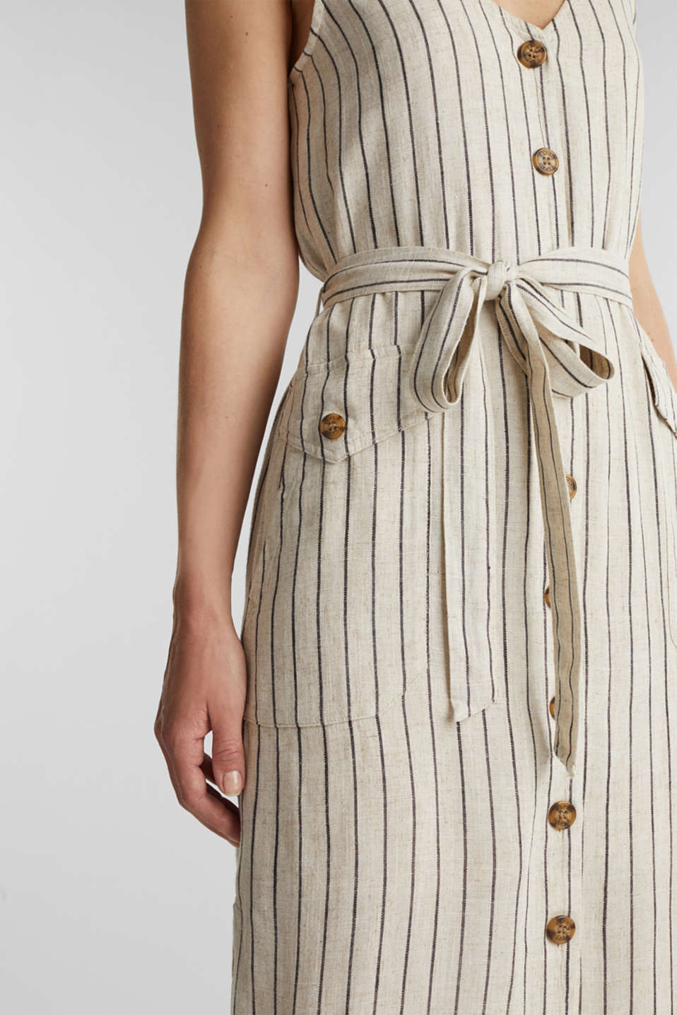 Linen blend: sheath dress with a belt, SAND 4, detail image number 3