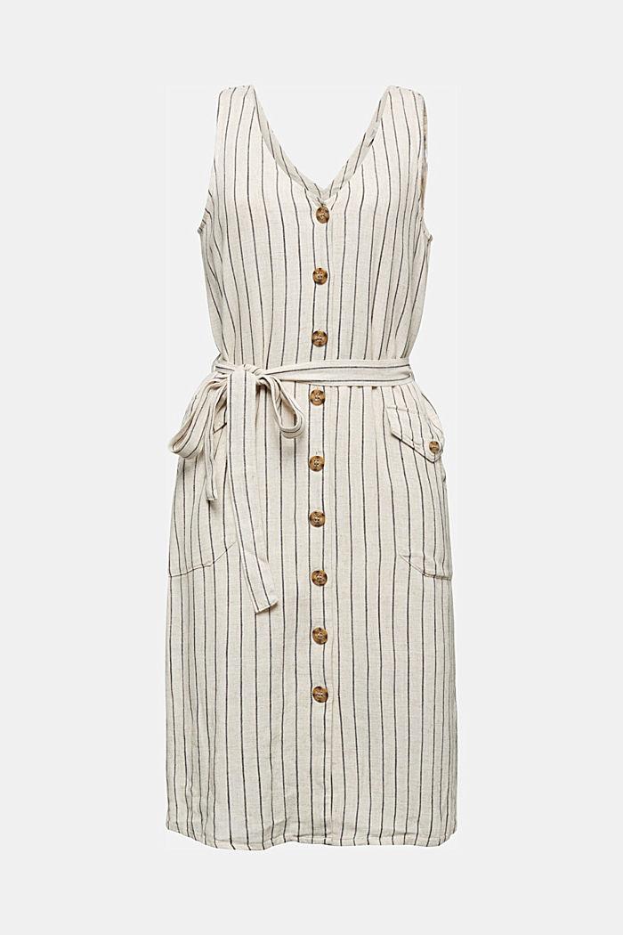 Mit Leinen: Etui-Kleid mit Gürtel