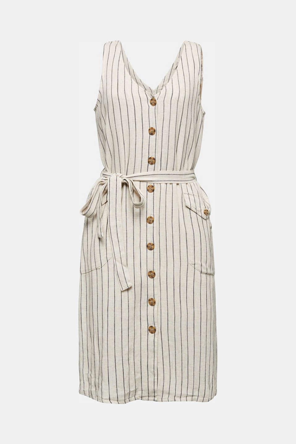Linen blend: sheath dress with a belt, SAND 4, detail image number 5