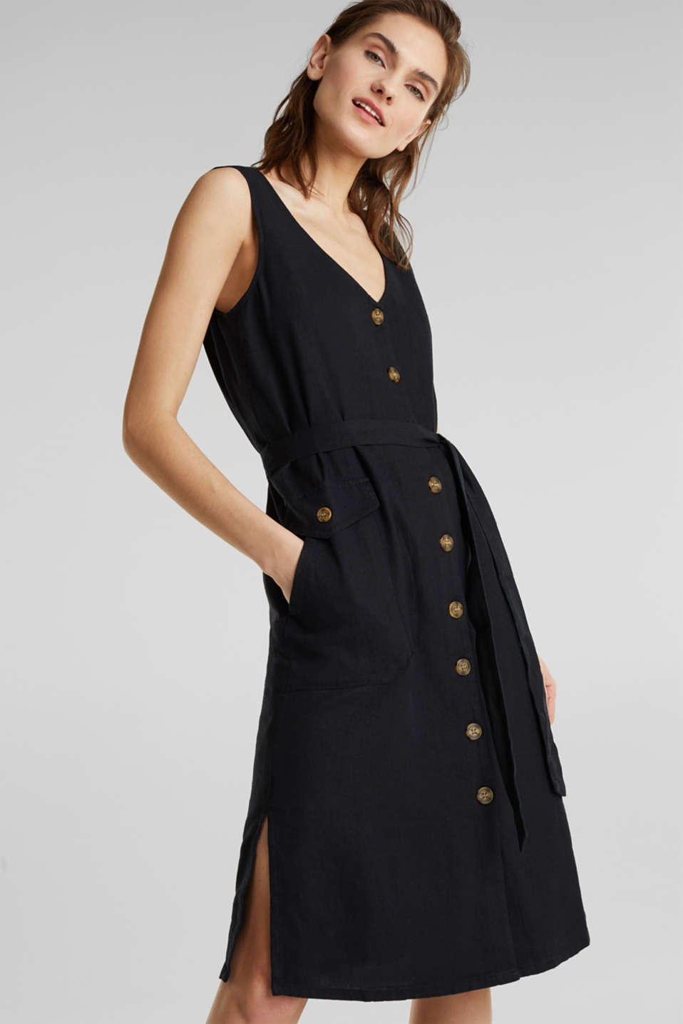 Esprit - Blended linen: dress with a button placket