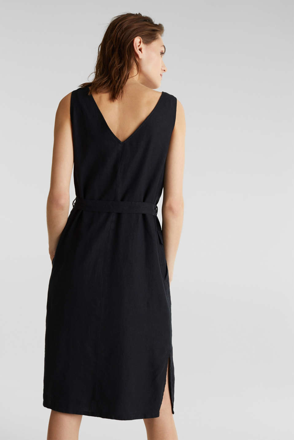 Blended linen: dress with a button placket, BLACK, detail image number 2