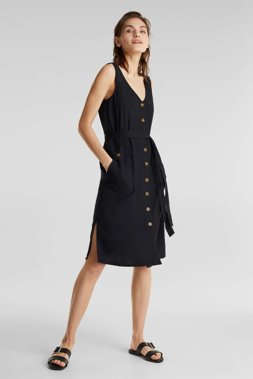 Blended linen: dress with a button placket, BLACK, detail image number 5
