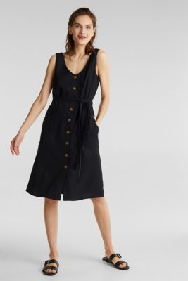Blended linen: dress with a button placket, BLACK, detail