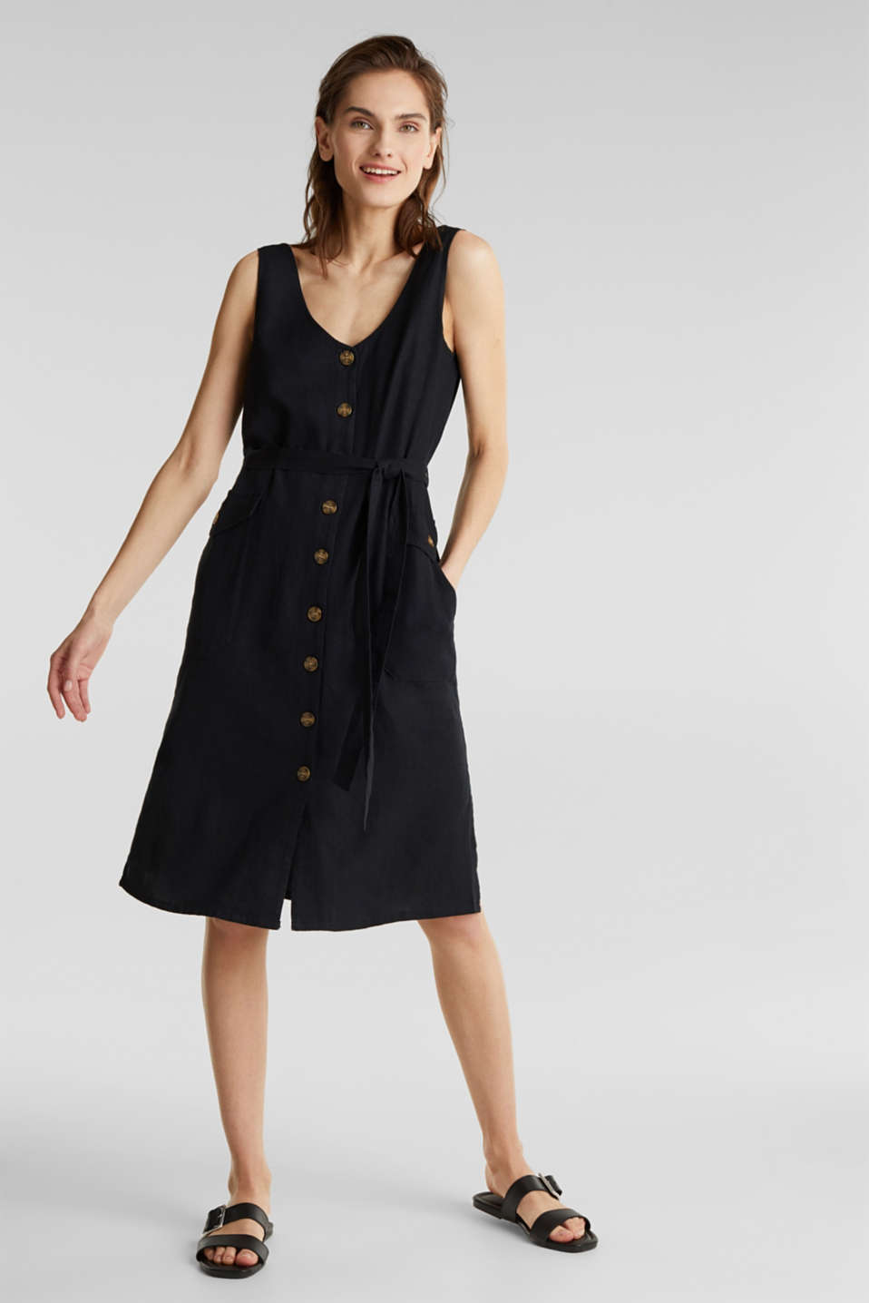 Blended linen: dress with a button placket, BLACK, detail image number 1