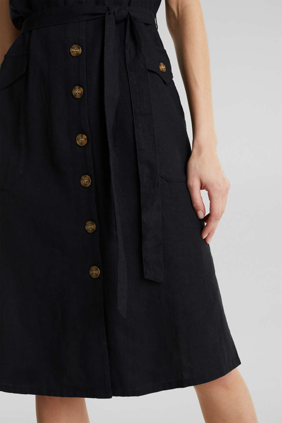 Blended linen: dress with a button placket, BLACK, detail image number 3