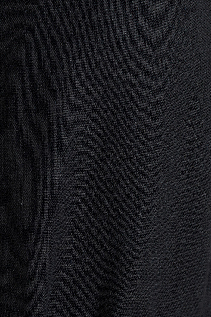 Leinen-Mix: Kleid mit Knopfleiste, BLACK, detail image number 4