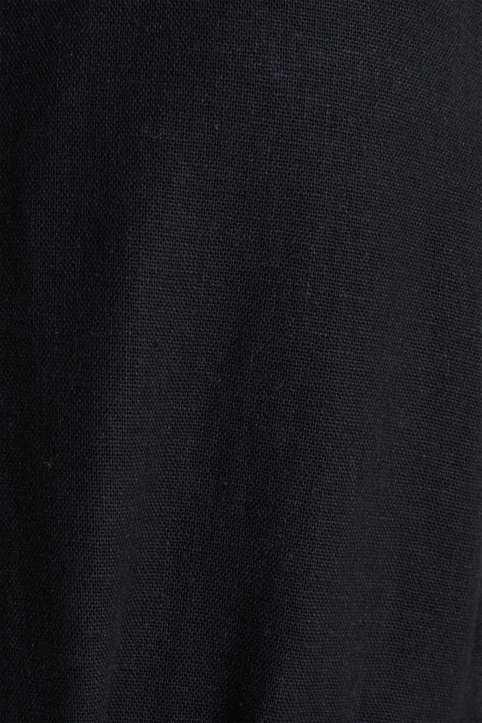 Blended linen: dress with a button placket, BLACK, detail image number 4