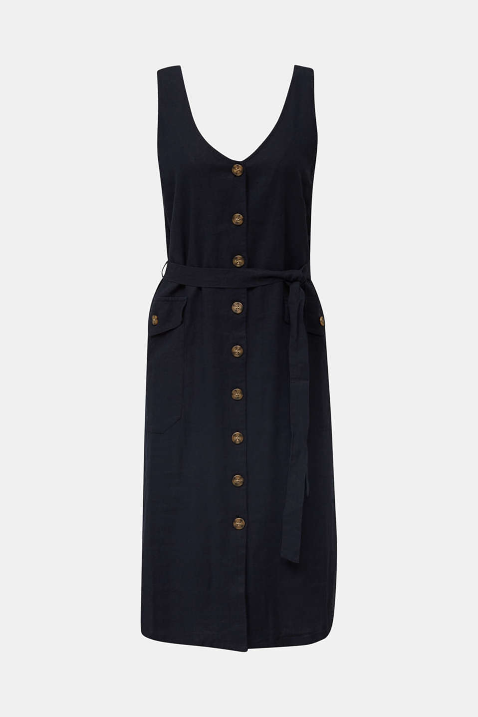 Blended linen: dress with a button placket, BLACK, detail image number 6