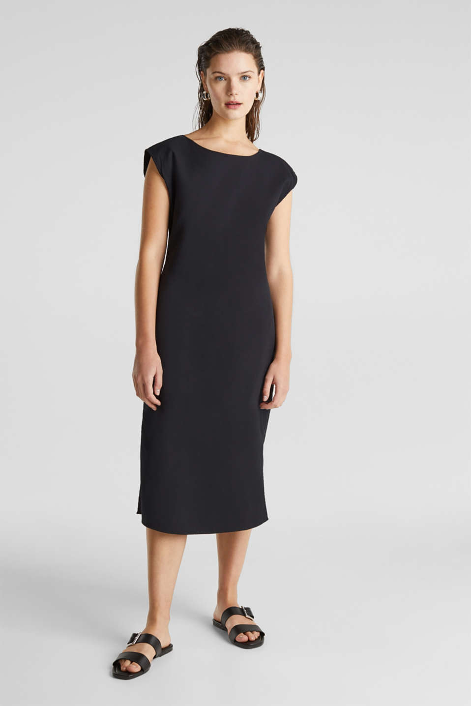 Cotton dress with a button placket, BLACK, detail image number 0