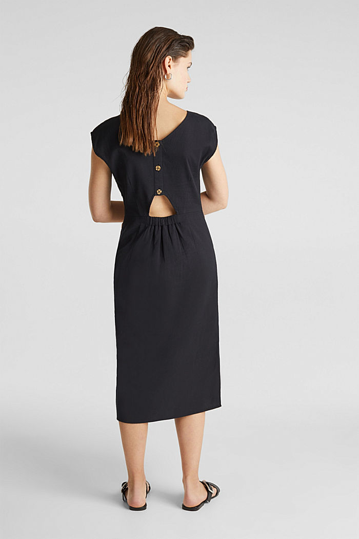 Cotton dress with a button placket, BLACK, detail image number 2