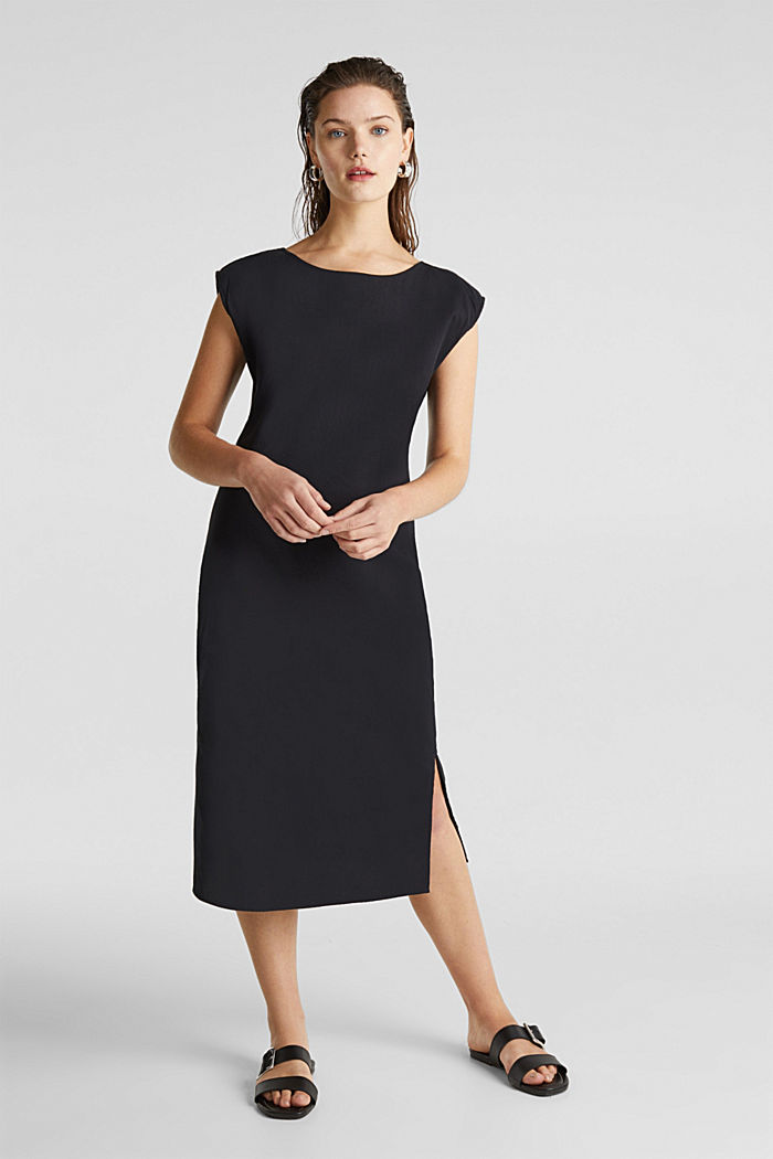 Cotton dress with a button placket, BLACK, detail image number 1