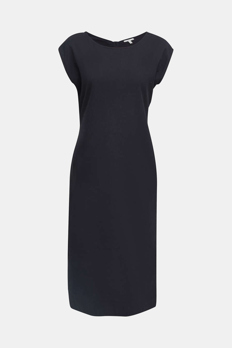 Cotton dress with a button placket, BLACK, detail image number 8
