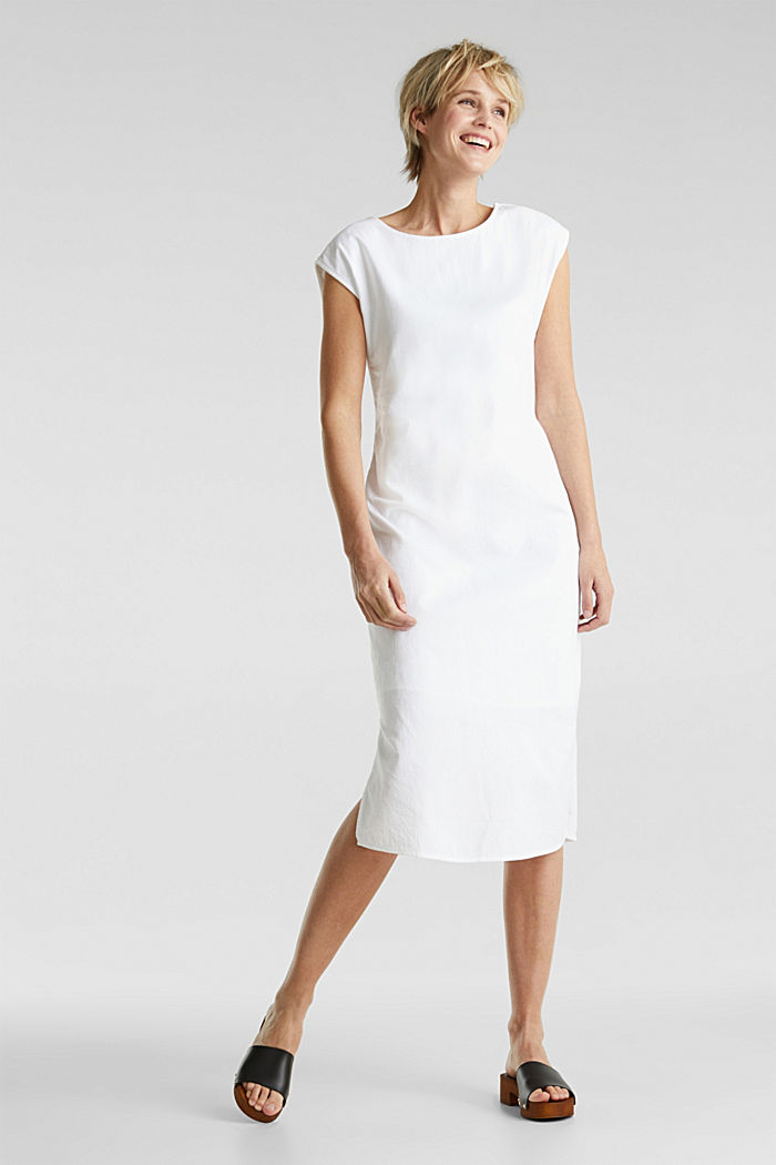 Cotton dress with a button placket, WHITE, detail image number 0