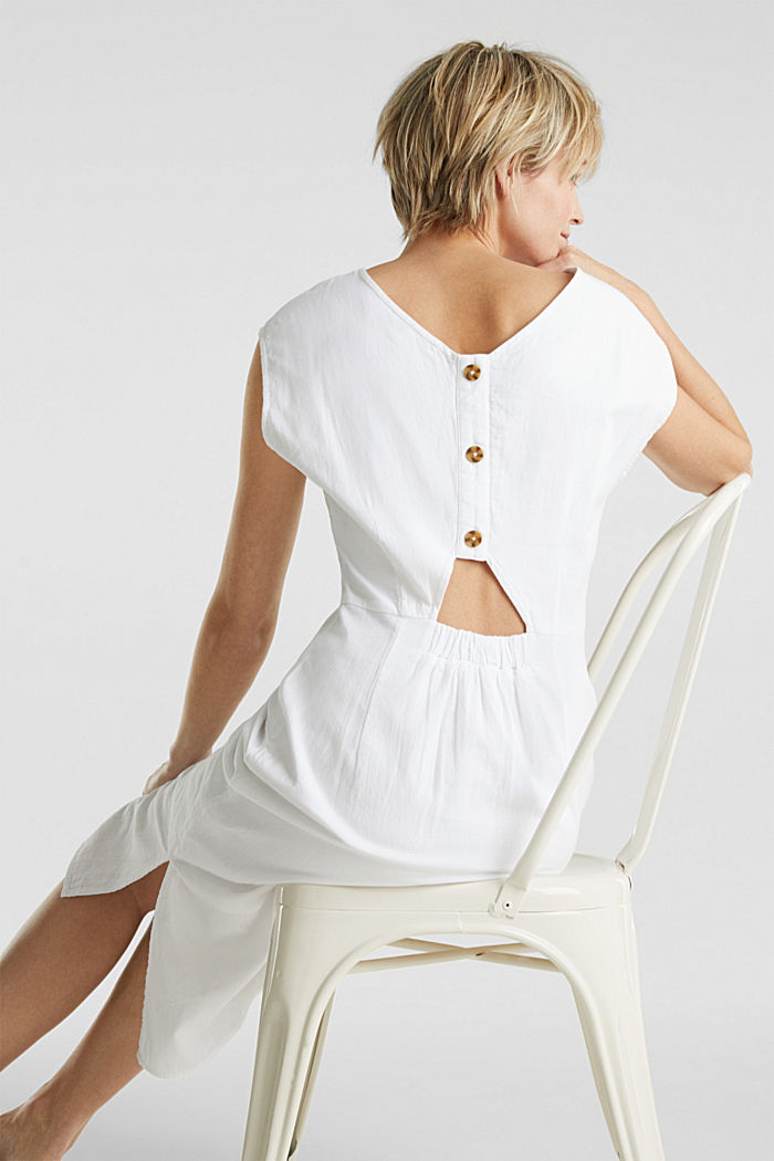 Cotton dress with a button placket, WHITE, detail image number 2
