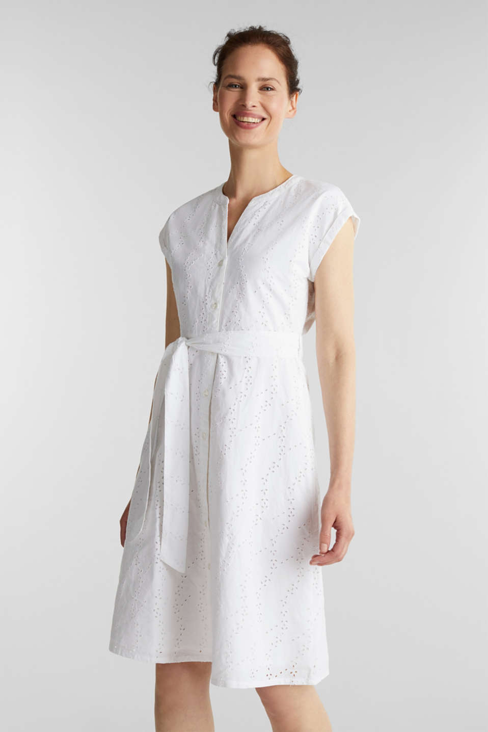 Esprit - Shirt dress with broderie anglaise