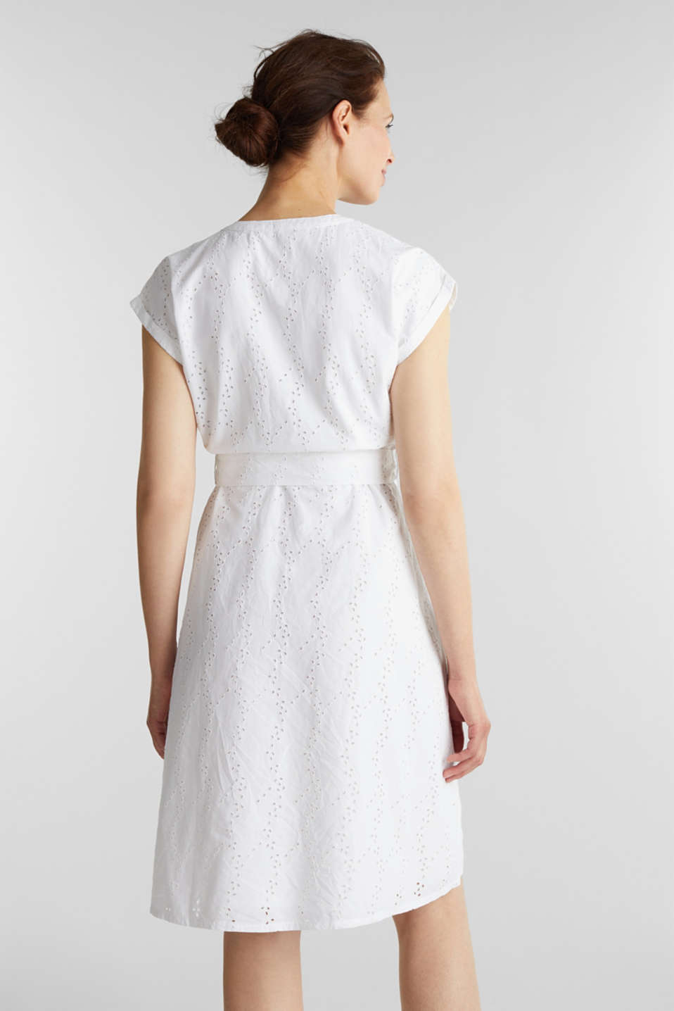Shirt dress with broderie anglaise, WHITE, detail image number 1