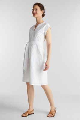 Shirt dress with broderie anglaise, WHITE, detail
