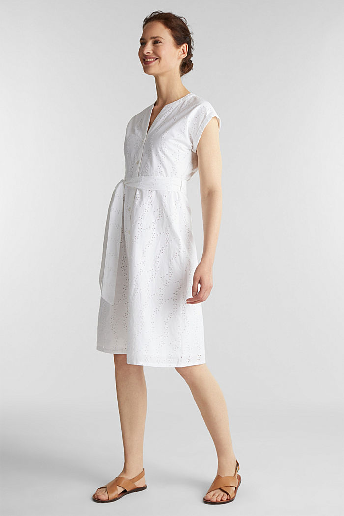 Shirt dress with broderie anglaise, WHITE, detail image number 0